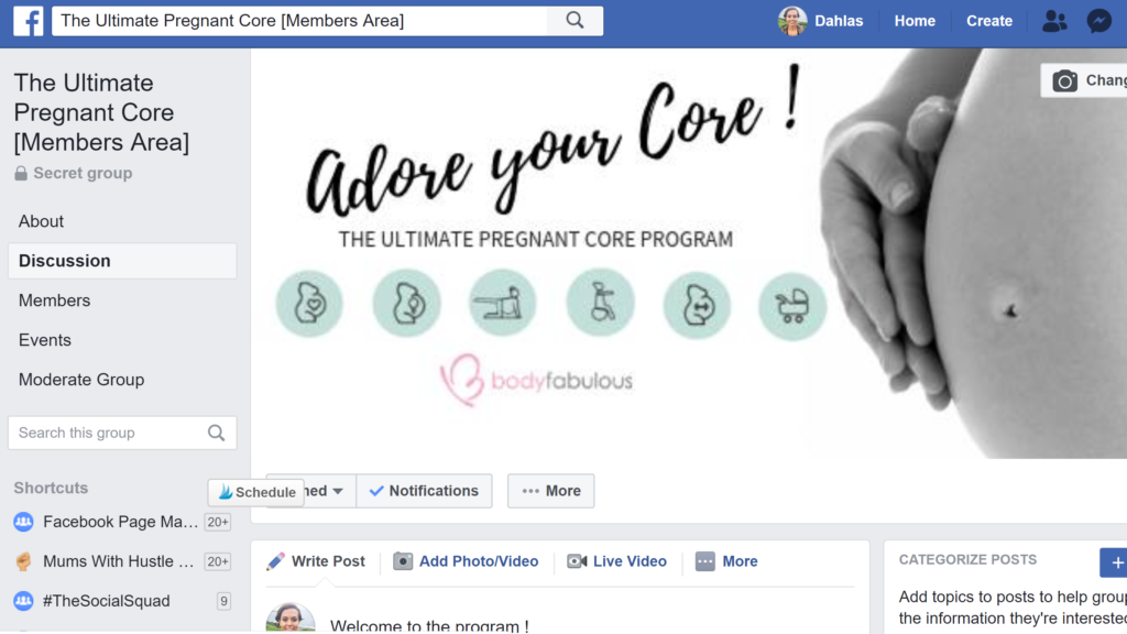 Facebook community ultimate pregnanat core, Dahlas Fletcher exercise specialist, exercise in pregnancy, pregnant core, pregnancy exercise program